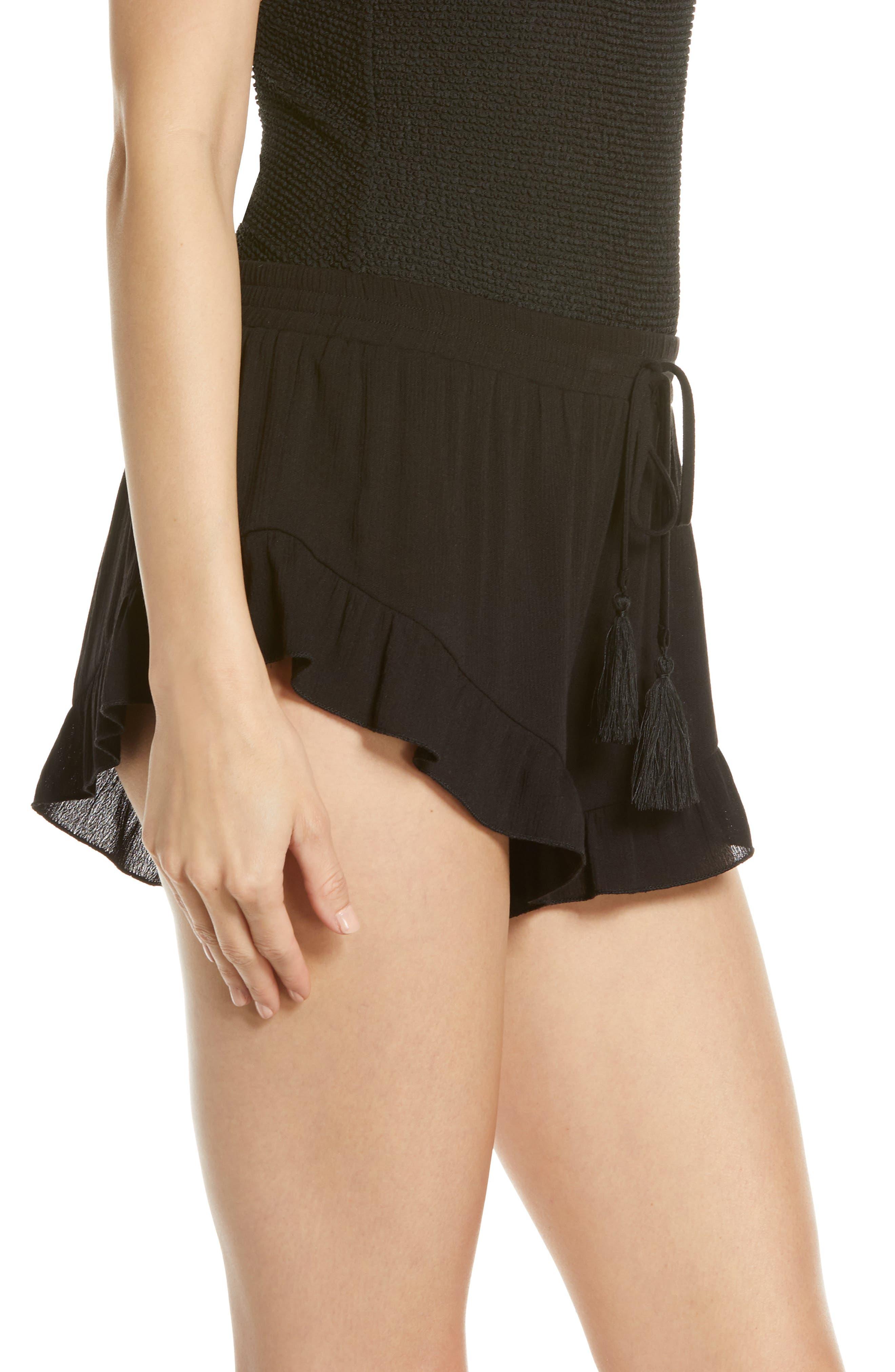 ,                             Flounce Cover-Up Shorts,                             Alternate thumbnail 4, color,                             BLACK