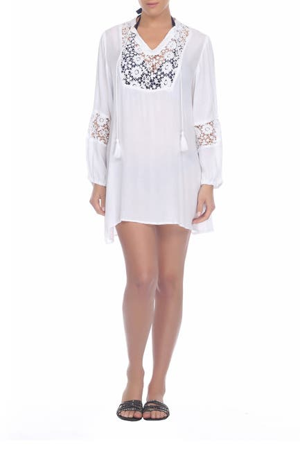 Image of BOHO ME Crochet Lace Trim Cover-Up Tunic