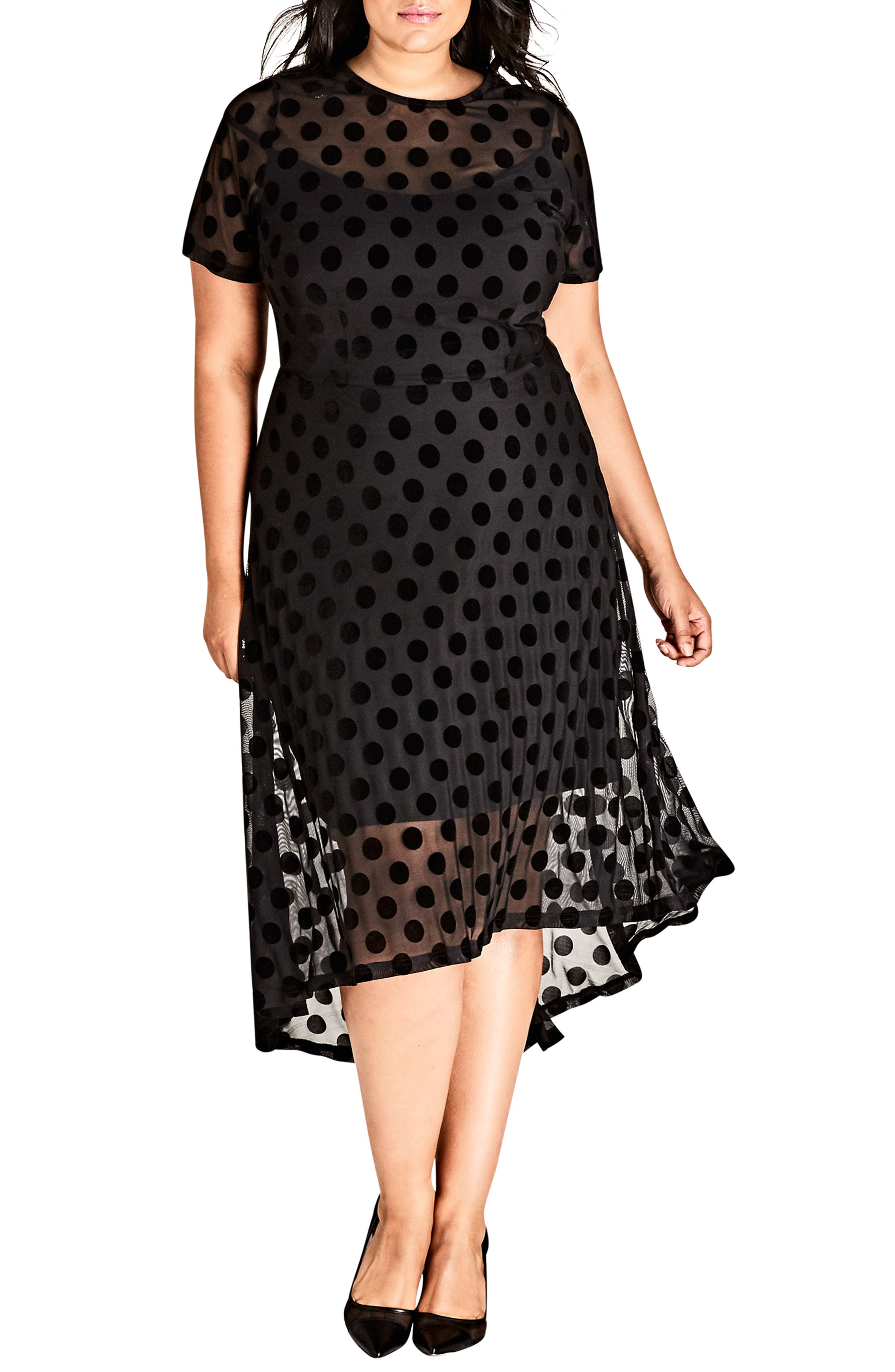 Spot Flock Dress, Main, color, BLACK