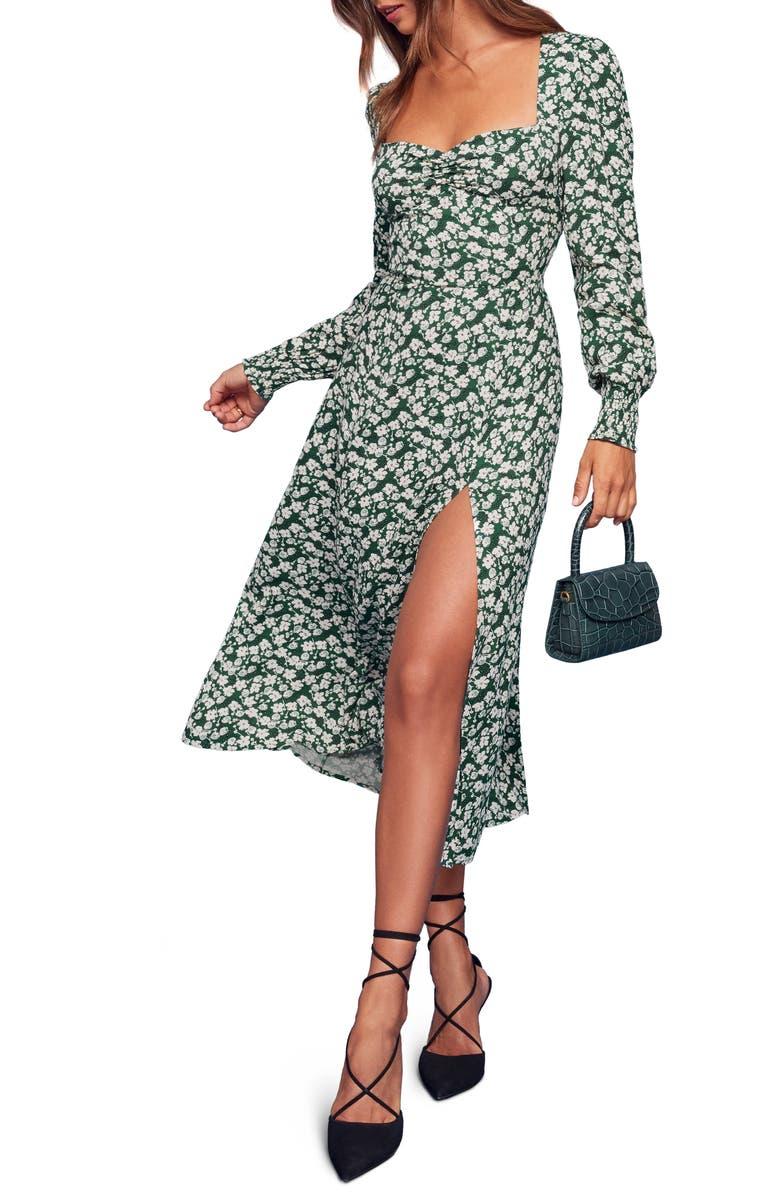 REFORMATION Wallflower Long Sleeve Midi Dress, Main, color, 300