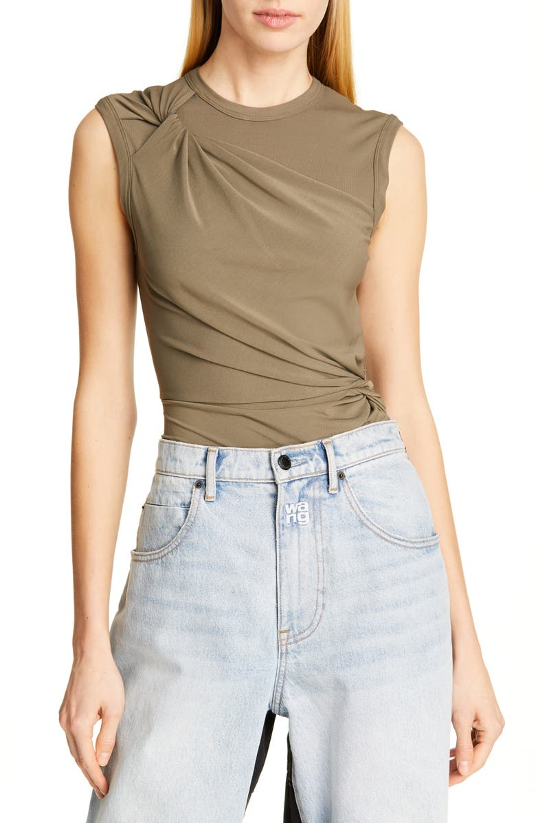 ALEXANDERWANG.T Twisted Crepe Jersey Top, Main, color, CARGO