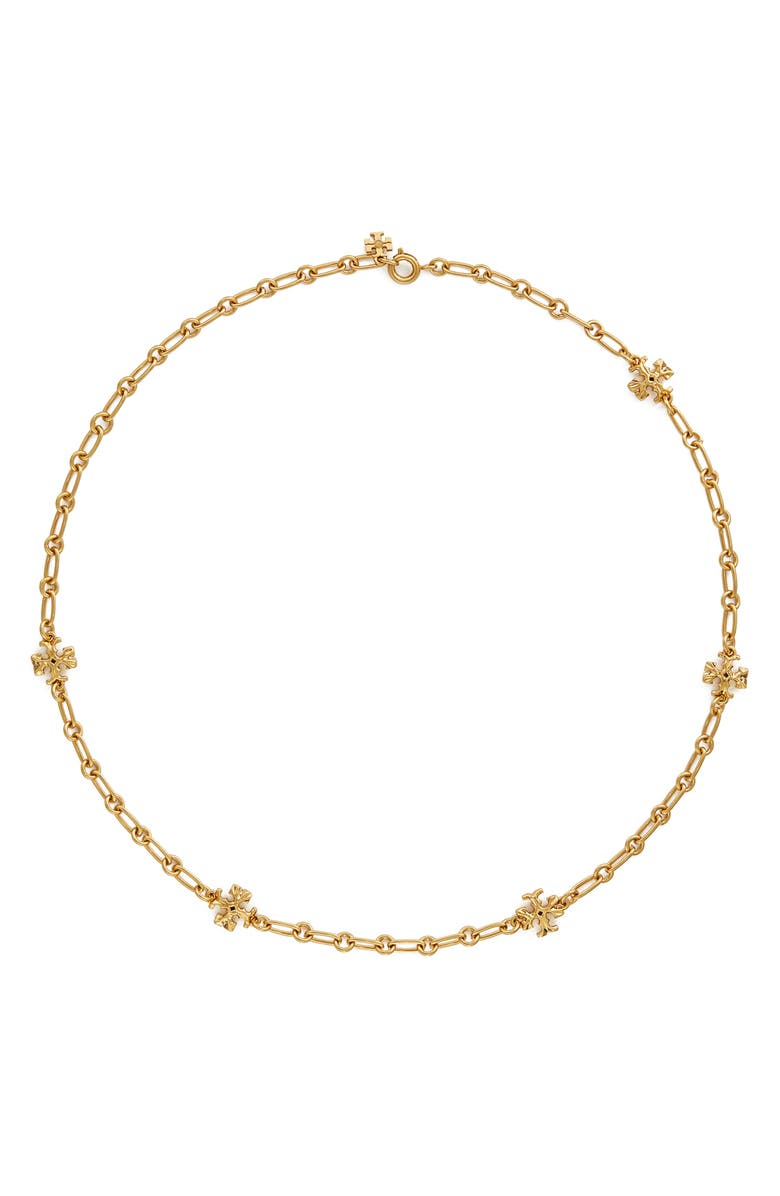 TORY BURCH Roxanne Chain Necklace, Main, color, ROLLED BRASS