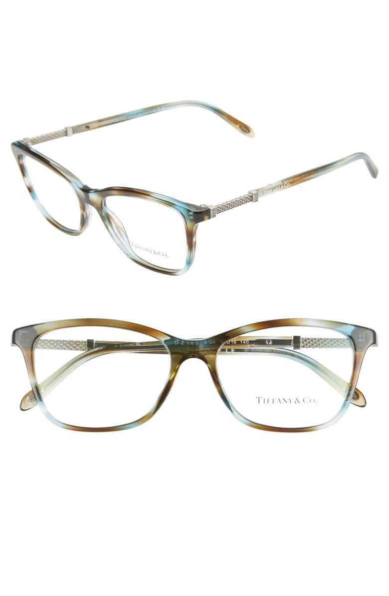 TIFFANY & CO. 53mm Optical Glasses, Main, color, TURQUOISE/ PRINT