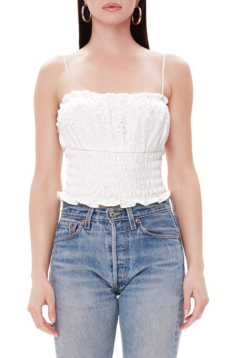 AFRM Luce Smocked Crop Top