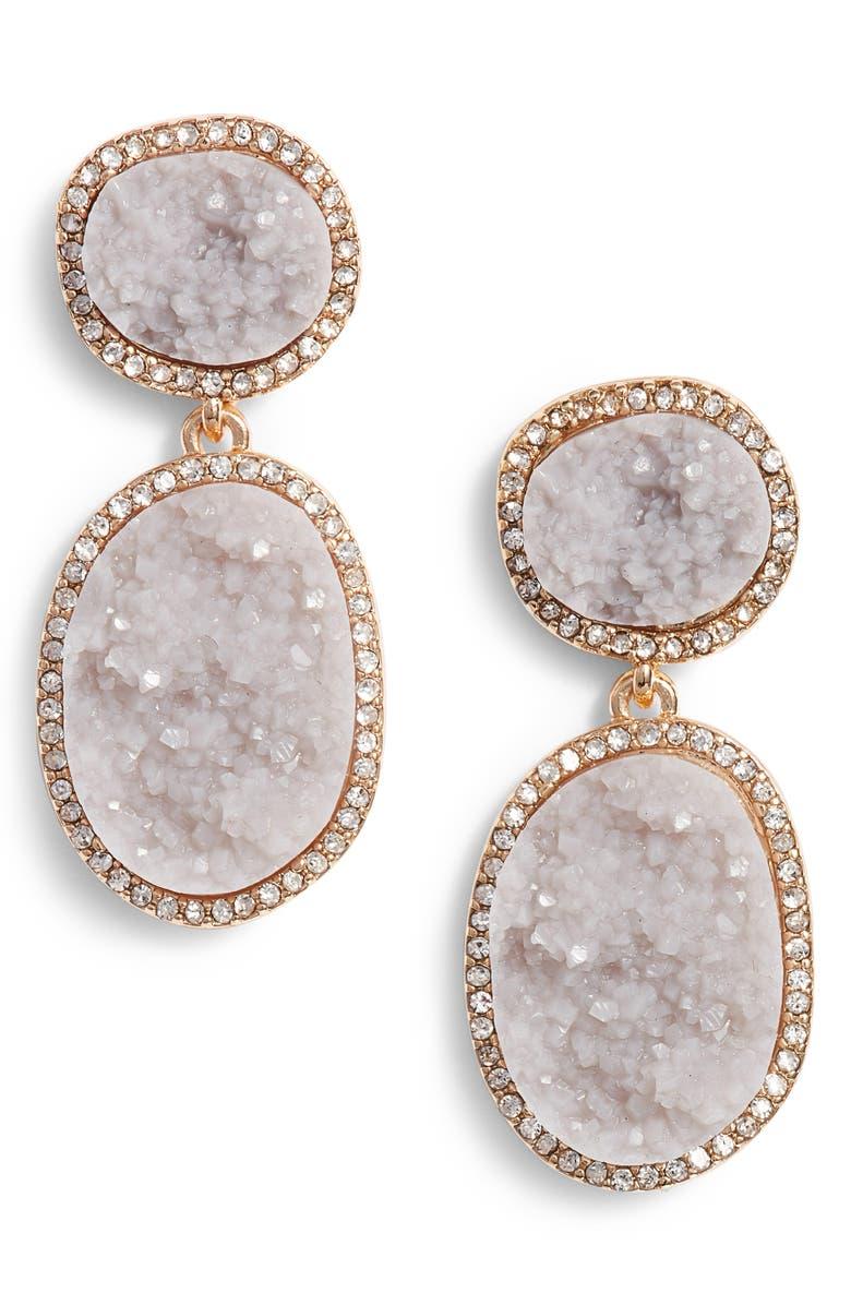BAUBLEBAR Krystal Faux Druzy Drop Earrings, Main, color, 050