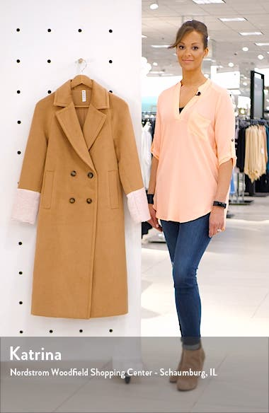 Colorblock Double Breasted Coat, sales video thumbnail