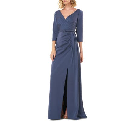 Kay Unger Capri Belted Gown, Grey