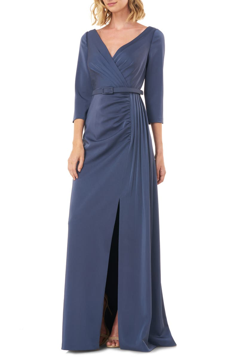 KAY UNGER Capri Belted Gown, Main, color, SLATE