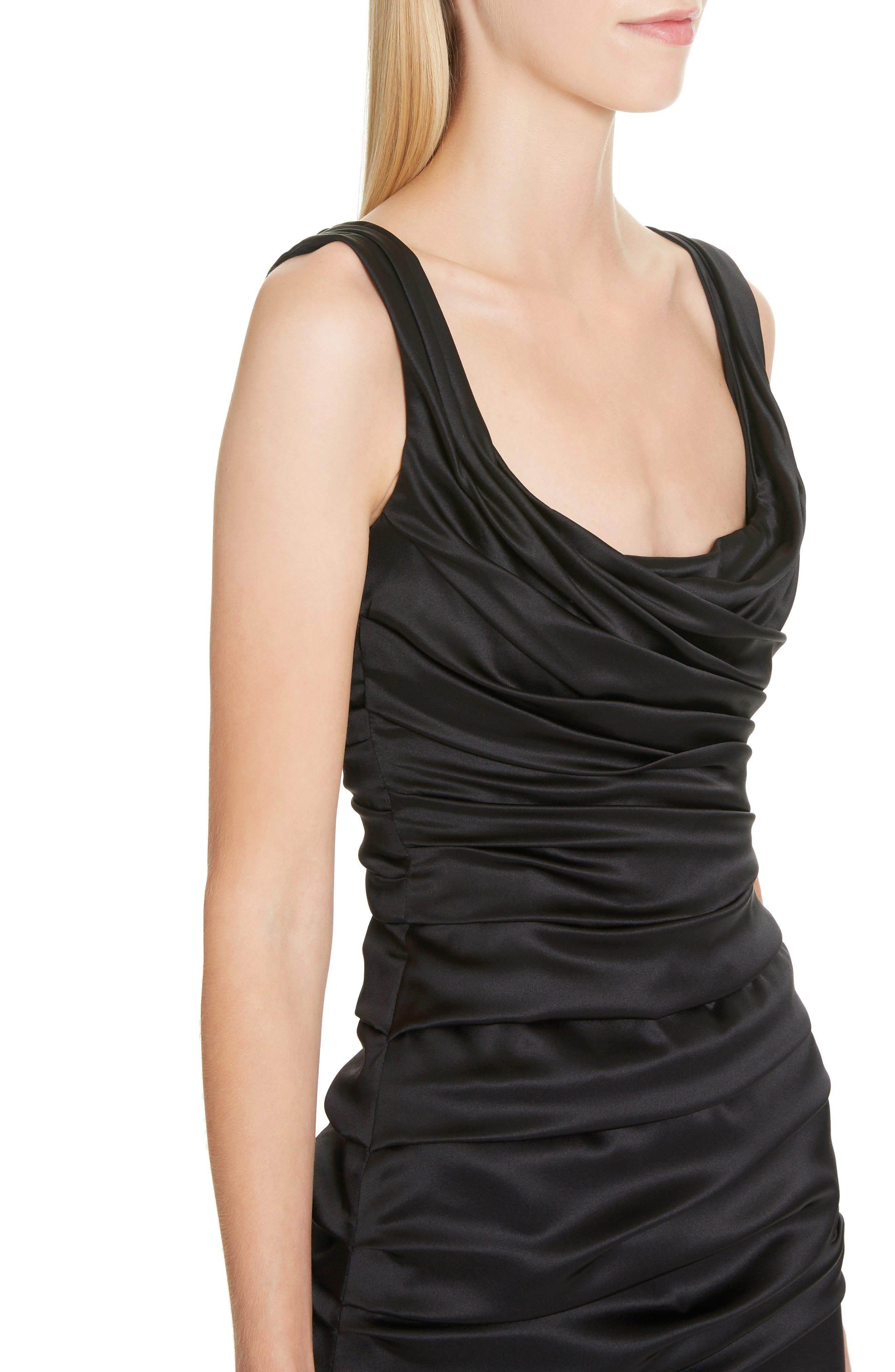 ,                             Ruched Stretch Silk Satin Body-Con Dress,                             Alternate thumbnail 4, color,                             BLACK