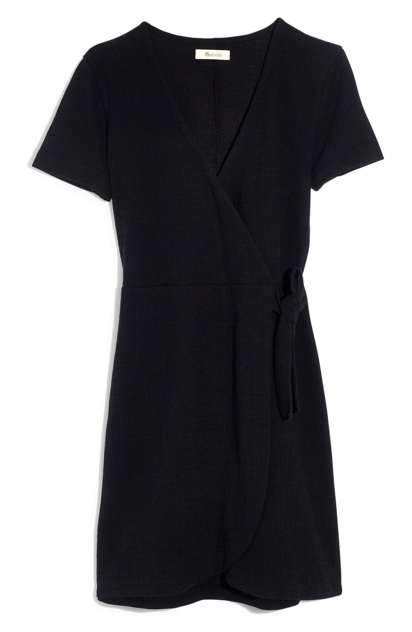 ,                             Texture & Thread Short Sleeve Side Tie Dress,                             Alternate thumbnail 5, color,                             TRUE BLACK
