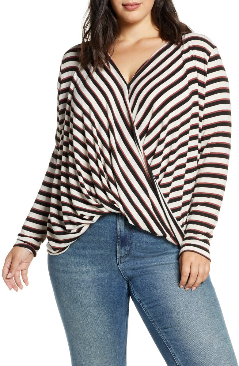 VERO MODA Wrap Knit Top, Main, color, MAHOGANY