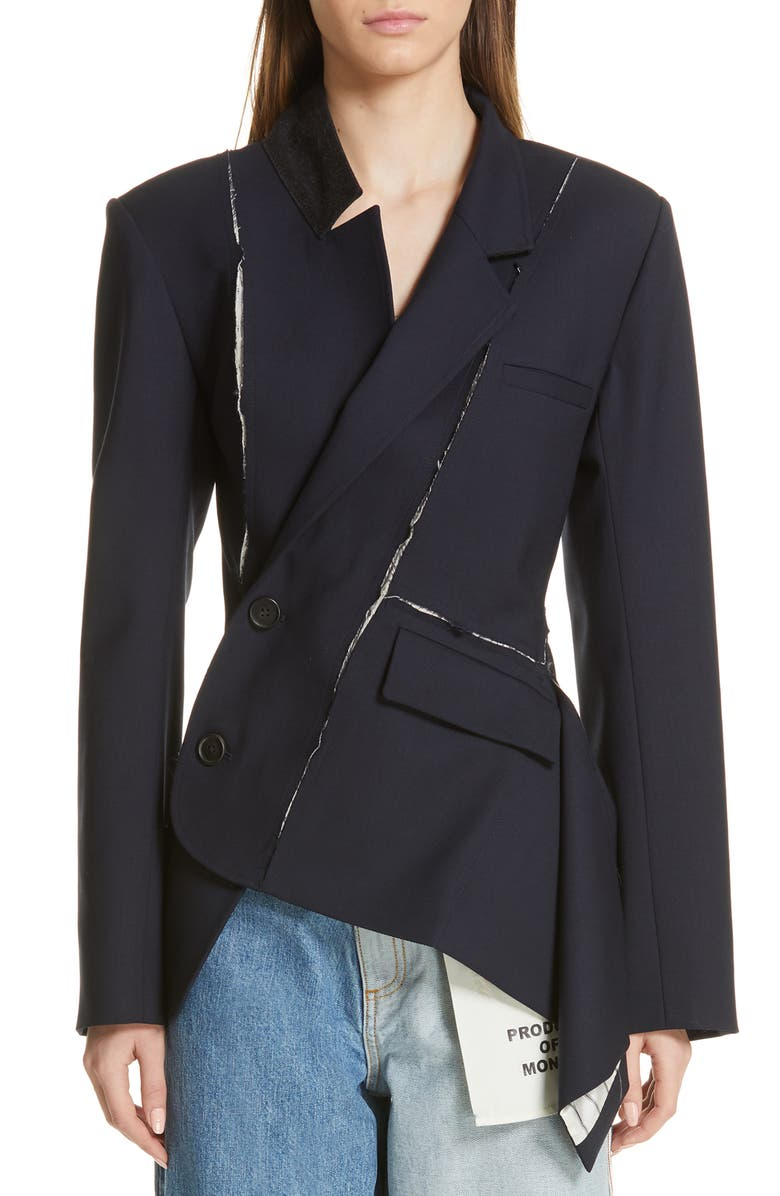 MONSE Deconstructed Stretch Wool Blazer, Main, color, NAVY
