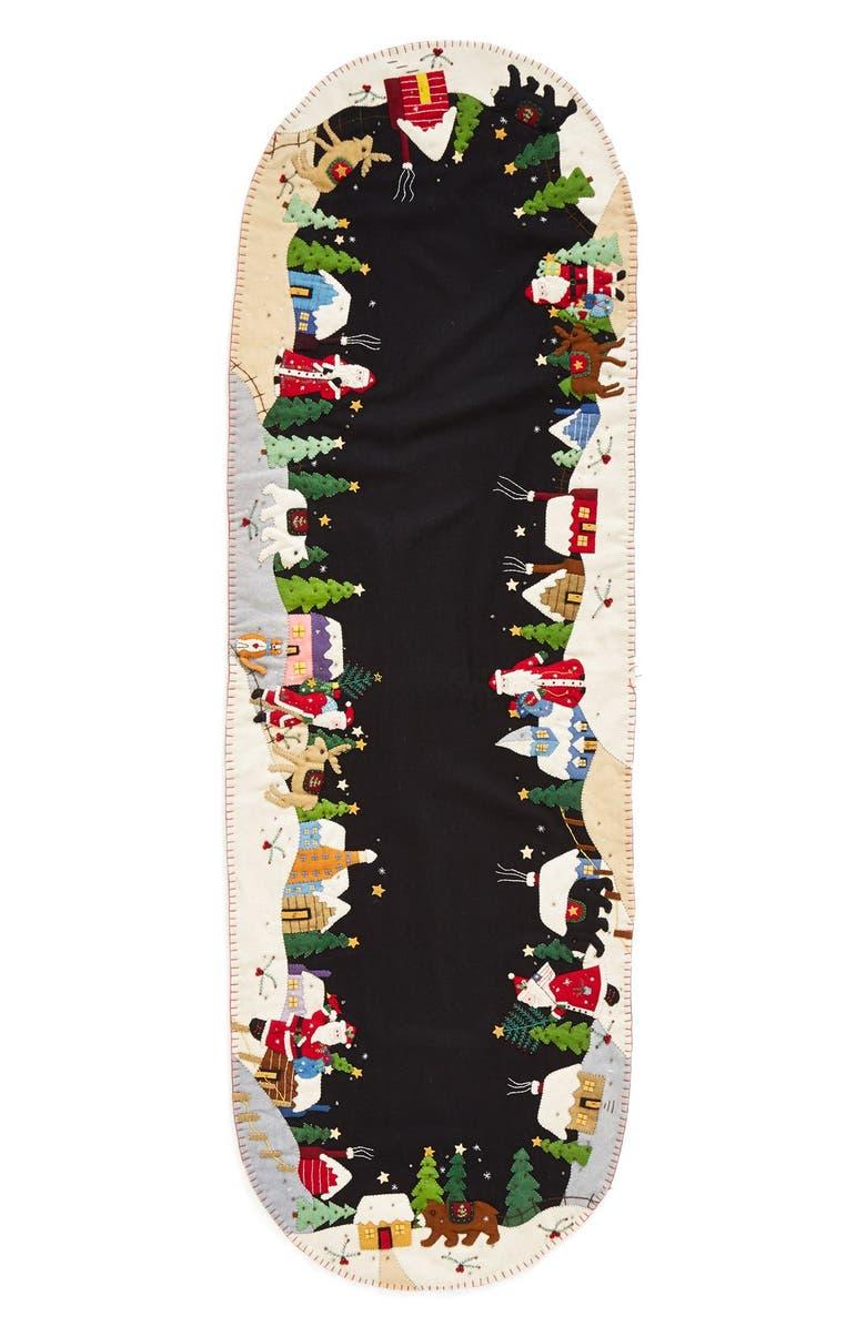 NEW WORLD ARTS Christmas Village Table Runner, Main, color, BLACK