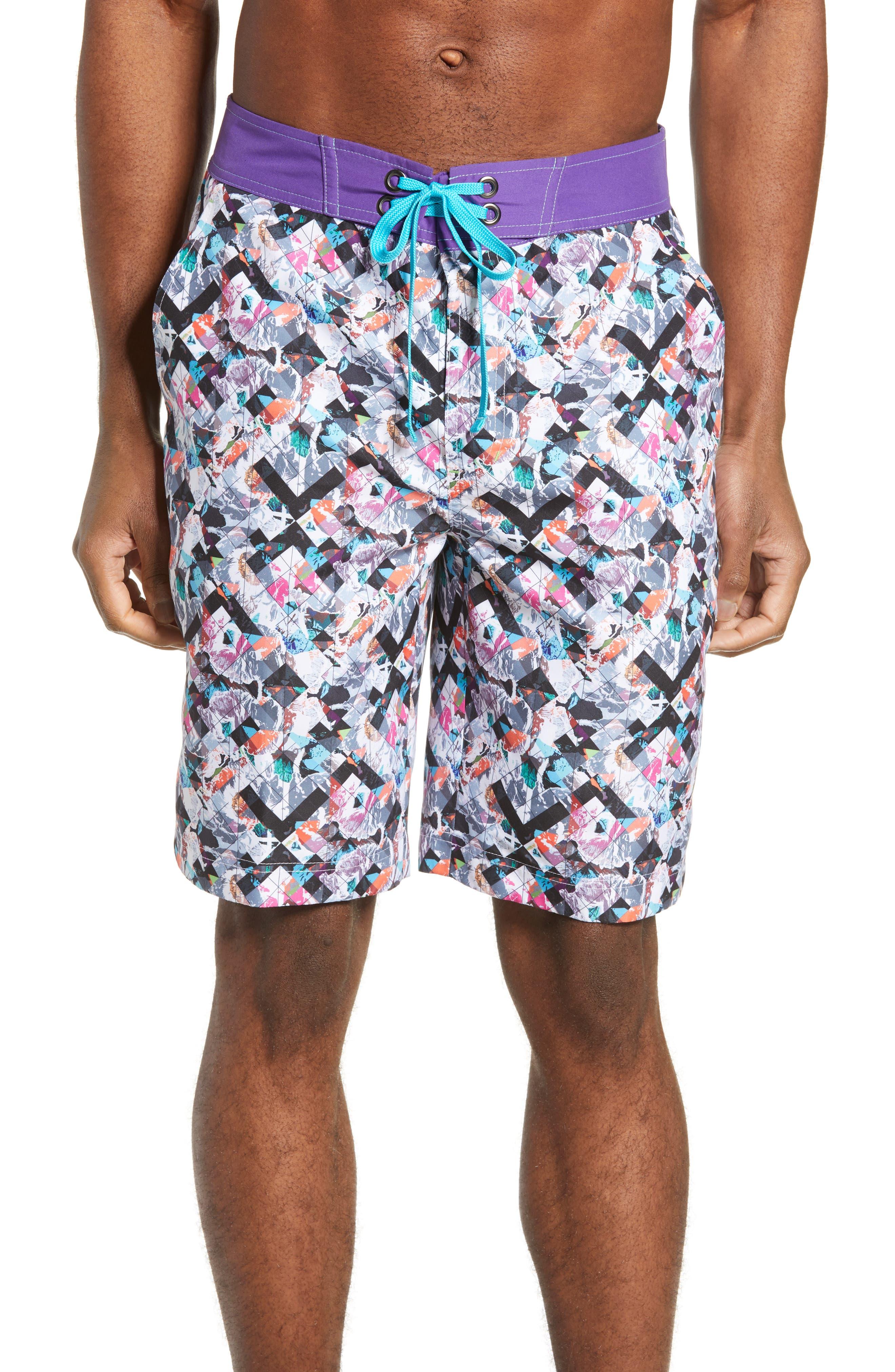 Robert Graham Madeira Islands Board Shorts, Blue
