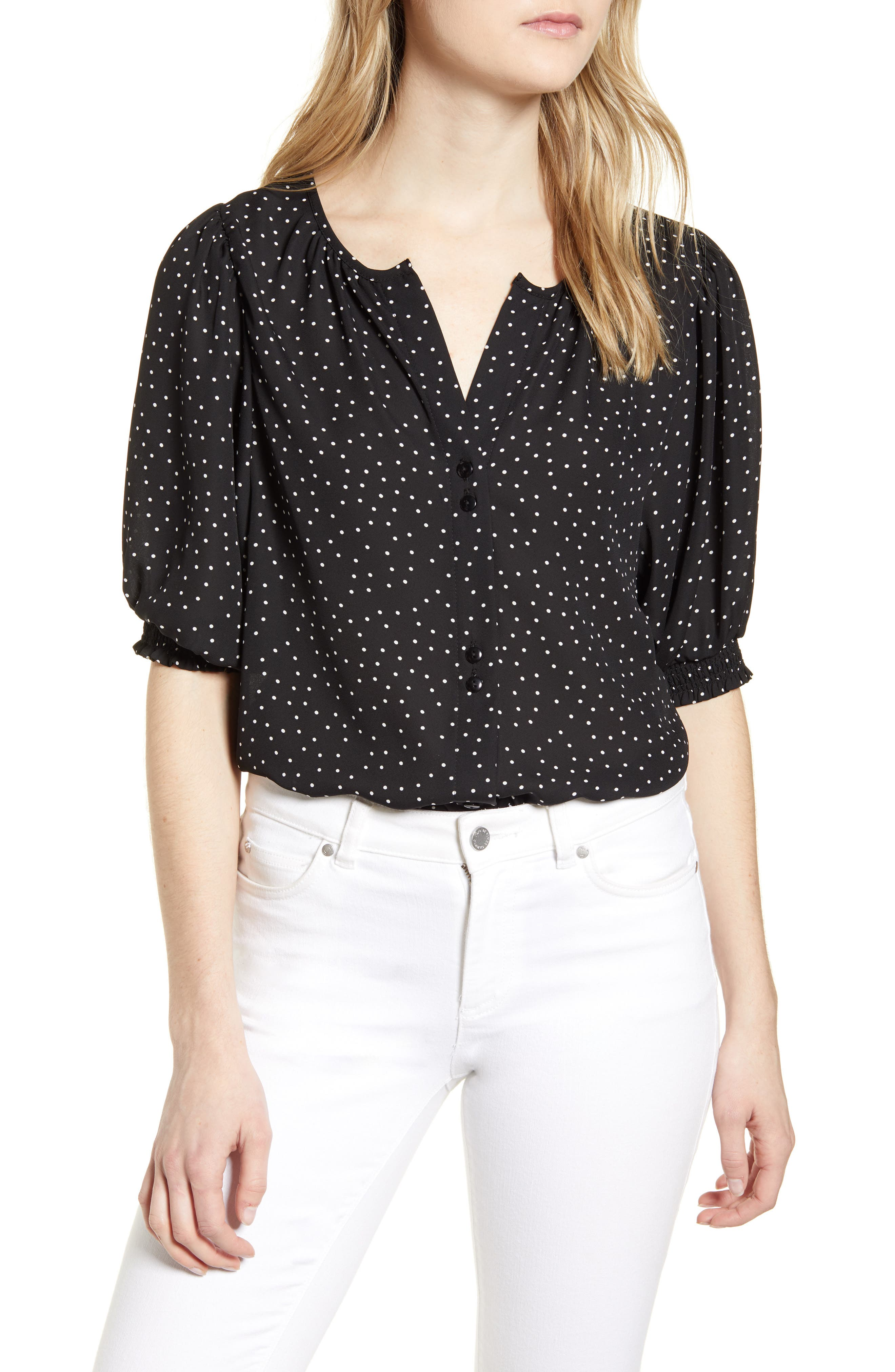 Valerie Dotted Puff Sleeve Blouse
