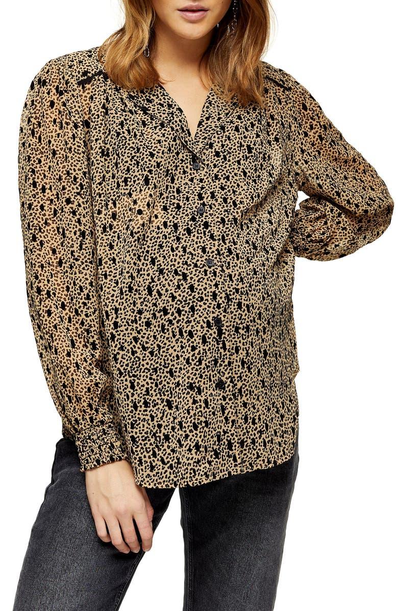 TOPSHOP Flocked Animal Print Maternity Shirt, Main, color, BROWN MULTI