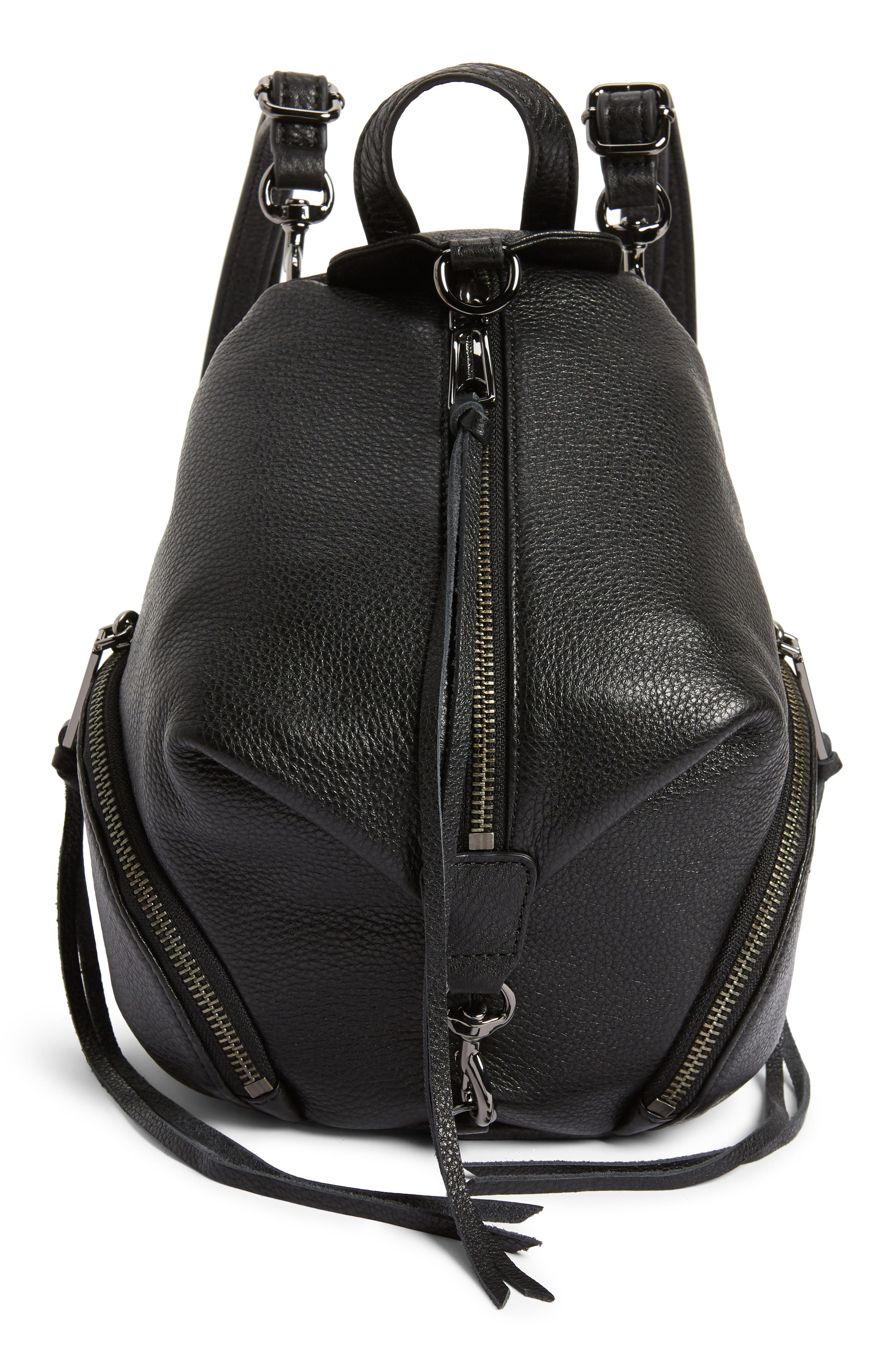Mini Julian Pebbled Leather Convertible Backpack, Main, color, BLACK
