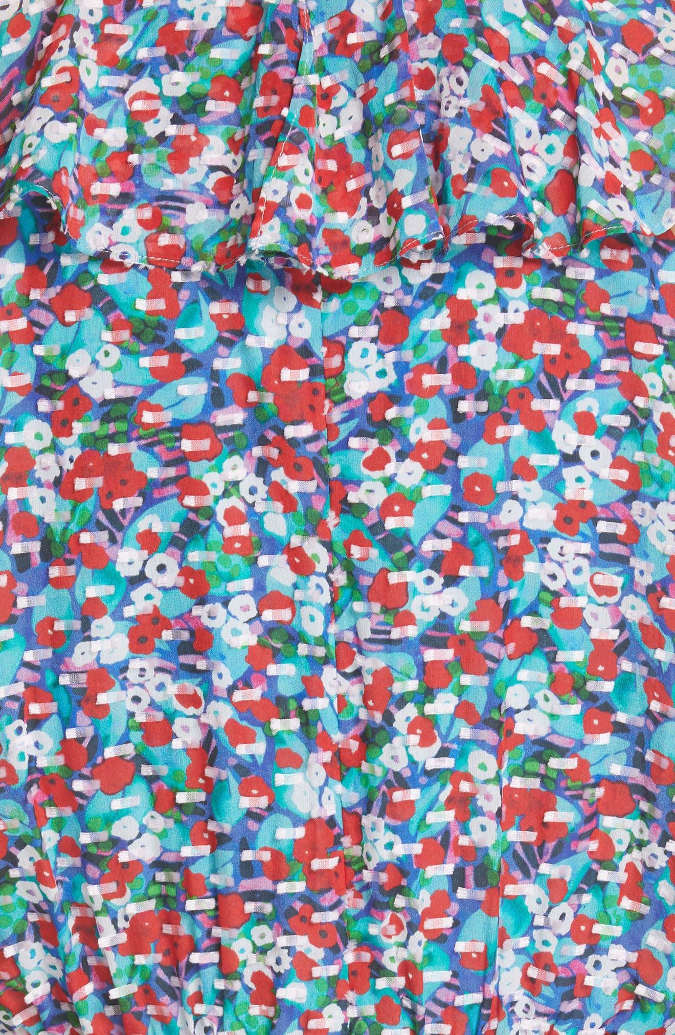 ,                             Anita Ruffle Trim Silk Burnout Dress,                             Alternate thumbnail 6, color,                             BLUE POPPYFIELD