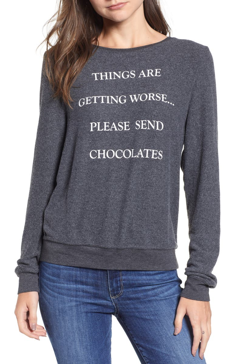 7450a9b845e470 Wildfox Baggy Beach Jumper - Send Chocolates Pullover | Nordstrom