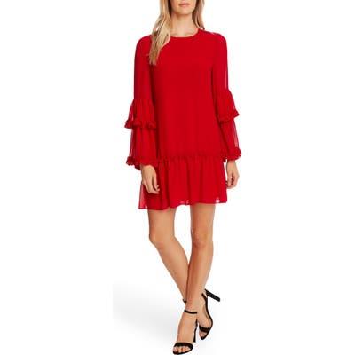 Cece Ruffle Chiffon Shift Dress, Red