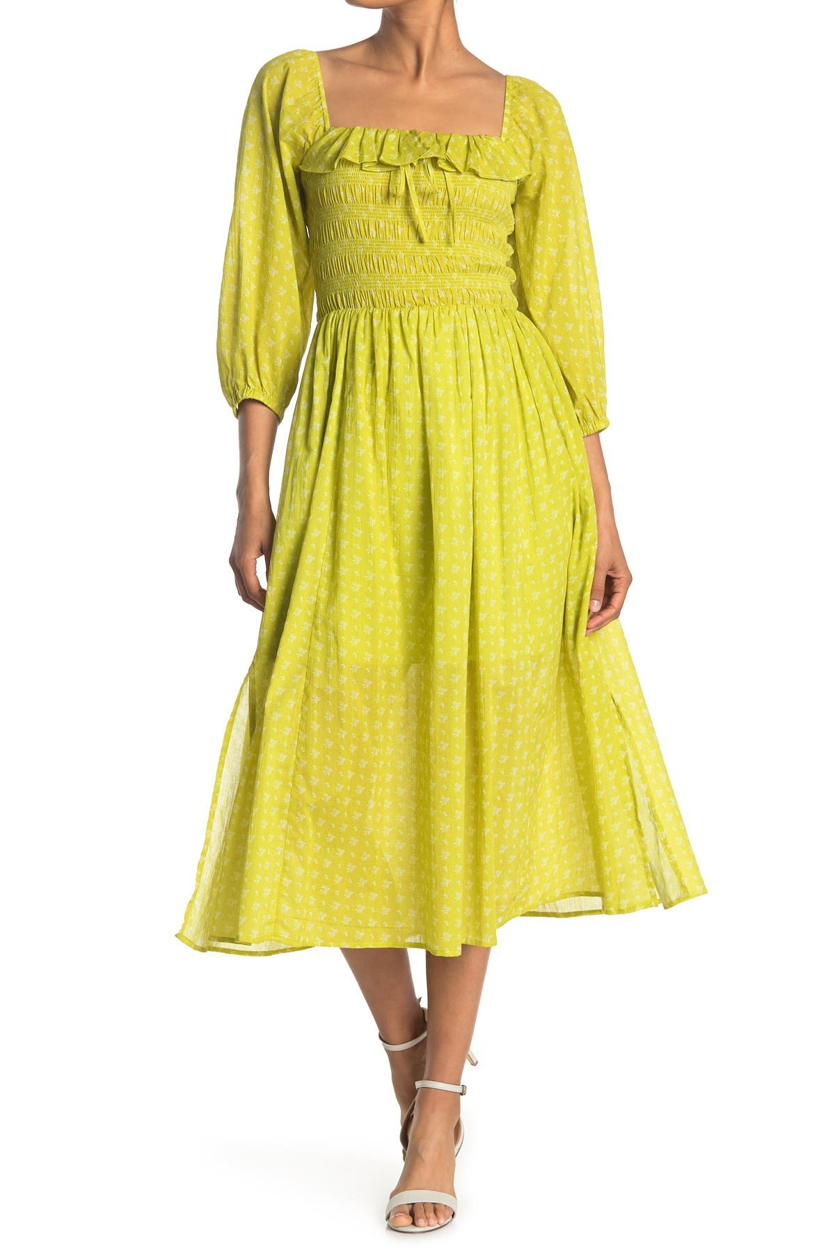 Image of MELLODAY Floral Smocked Ruffle Midi Dress