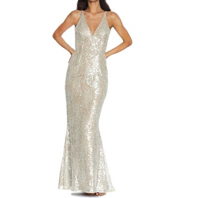 Dress The Population Sharon Lace Sequin Plunge Neck Mermaid Gown, Ivory