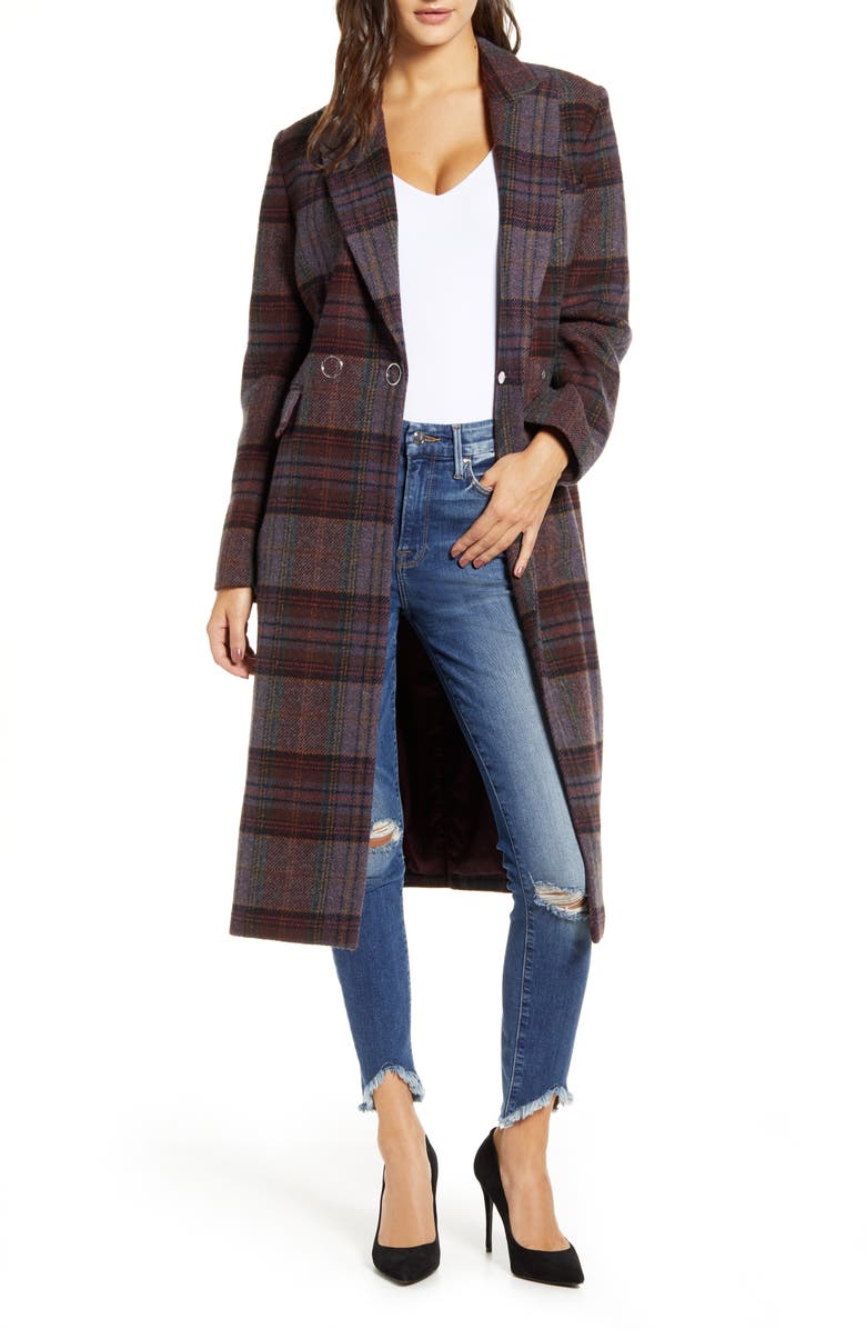 KENDALL + KYLIE Plaid Brushed Wool Blend Coat, Main, color, PLUM PLAID
