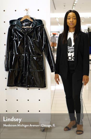 Contrast Hood Glossy Raincoat, sales video thumbnail