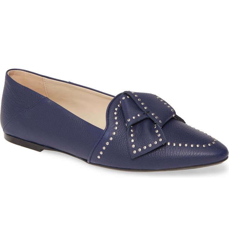 TOD'S Studded Bow Loafer, Main, color, NAVY