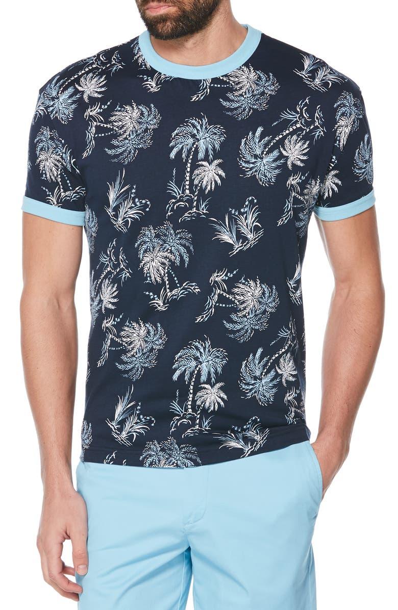 ORIGINAL PENGUIN Palm Print Ringer T-Shirt, Main, color, DARK SAPPHIRE