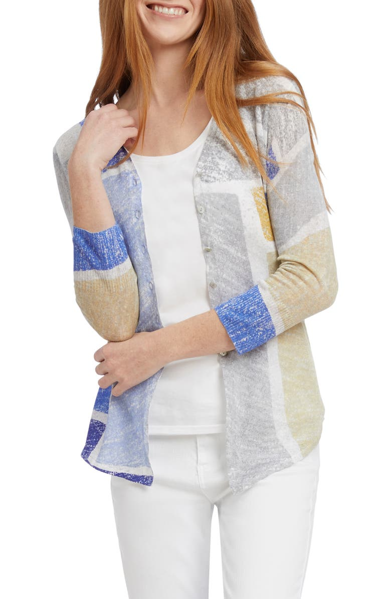 NIC+ZOE Sea Glass Linen Blend Cardigan, Main, color, 190
