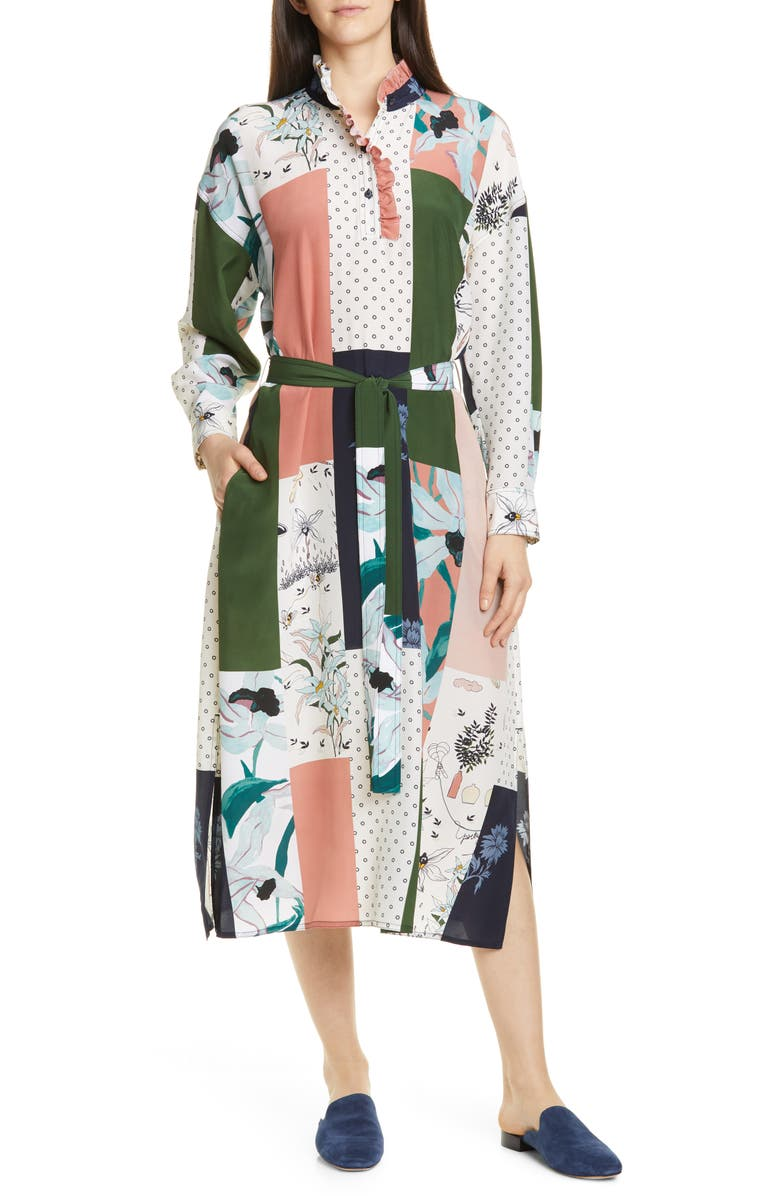 TORY BURCH Long Sleeve Patchwork Silk Midi Dress, Main, color, DESERT BLOOM PATCHWORK