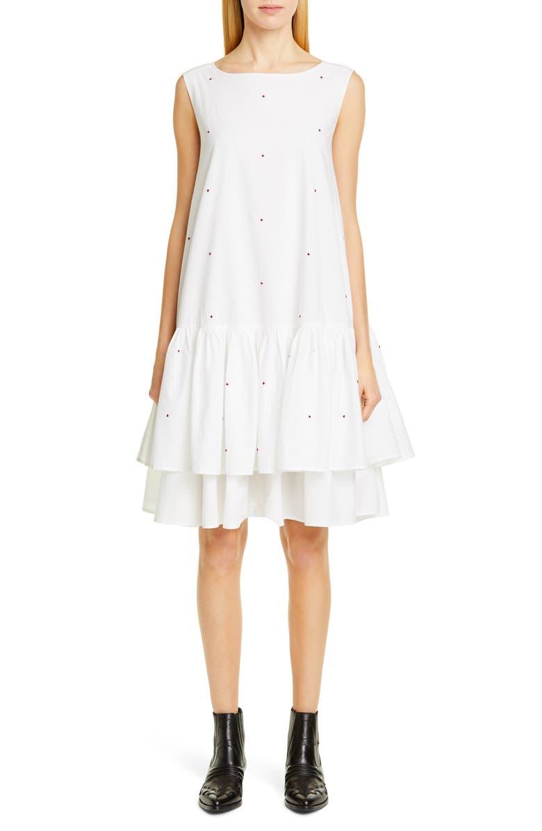 MERLETTE Cevenne Embroidered Drop Waist Dress, Main, color, WHITE/ BURGUNDY