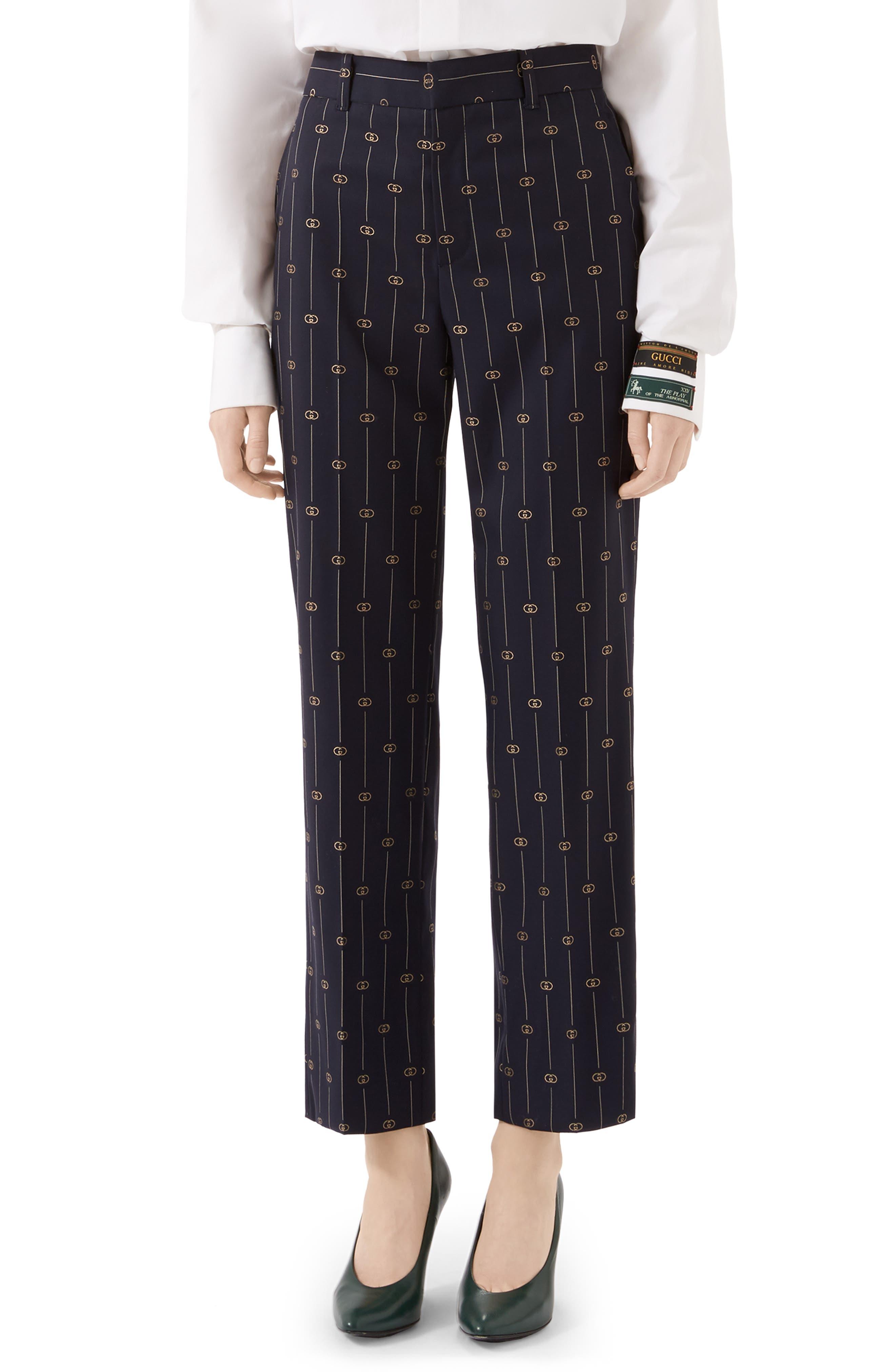 Gucci Pants GG Straight Leg Crop Wool Pants