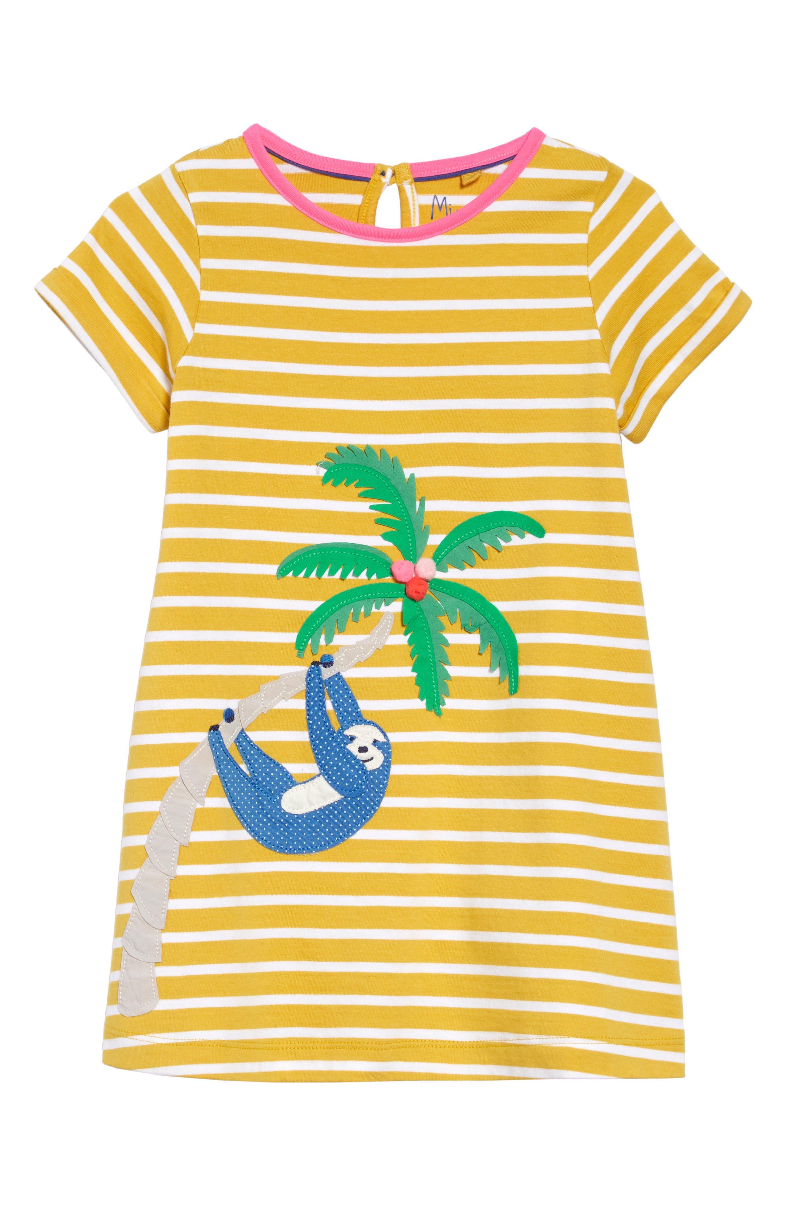 ,                             Appliqué Dress,                             Main thumbnail 1, color,                             MIMOSA YELLOW STRIPE/ SLOTH