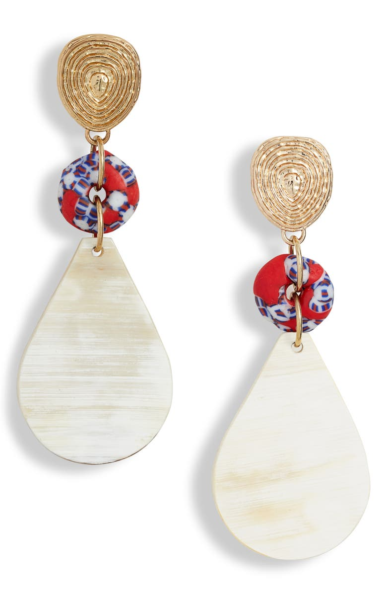 AKOLA Glass & Horn Drop Earrings, Main, color, RED