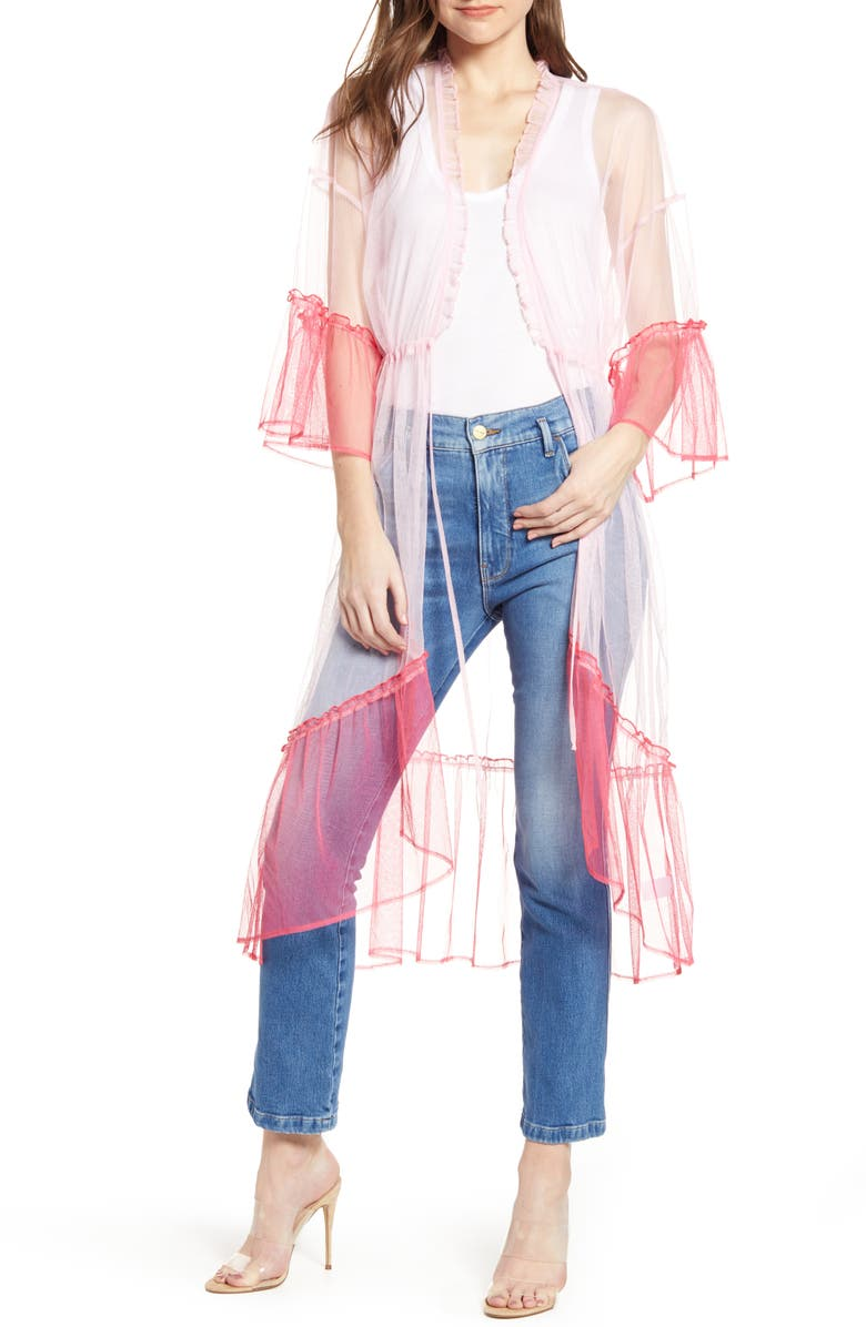 TROUVÉ Sheer Ruffle Duster, Main, color, PINK COMBO