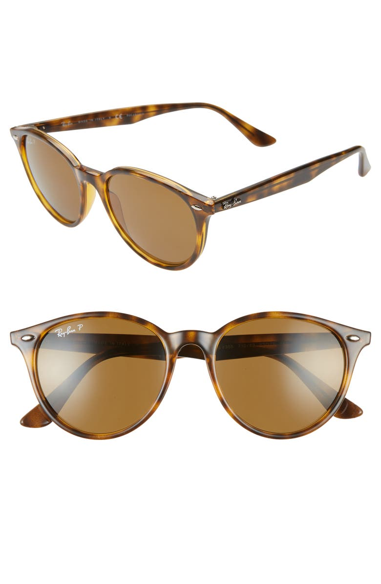 RAY-BAN Phantos 53mm Polarized Round Sunglasses, Main, color, HAVANA/ BROWN SOLID