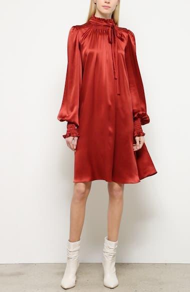 Silk Charmeuse Long Sleeve Dress, video thumbnail