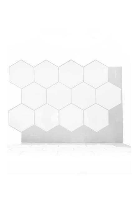 Image of WalPlus Classic Hexa Premium White Glossy 3D Sticker Tile 28 x 20cm (11 x 8 in) - Pack of 8
