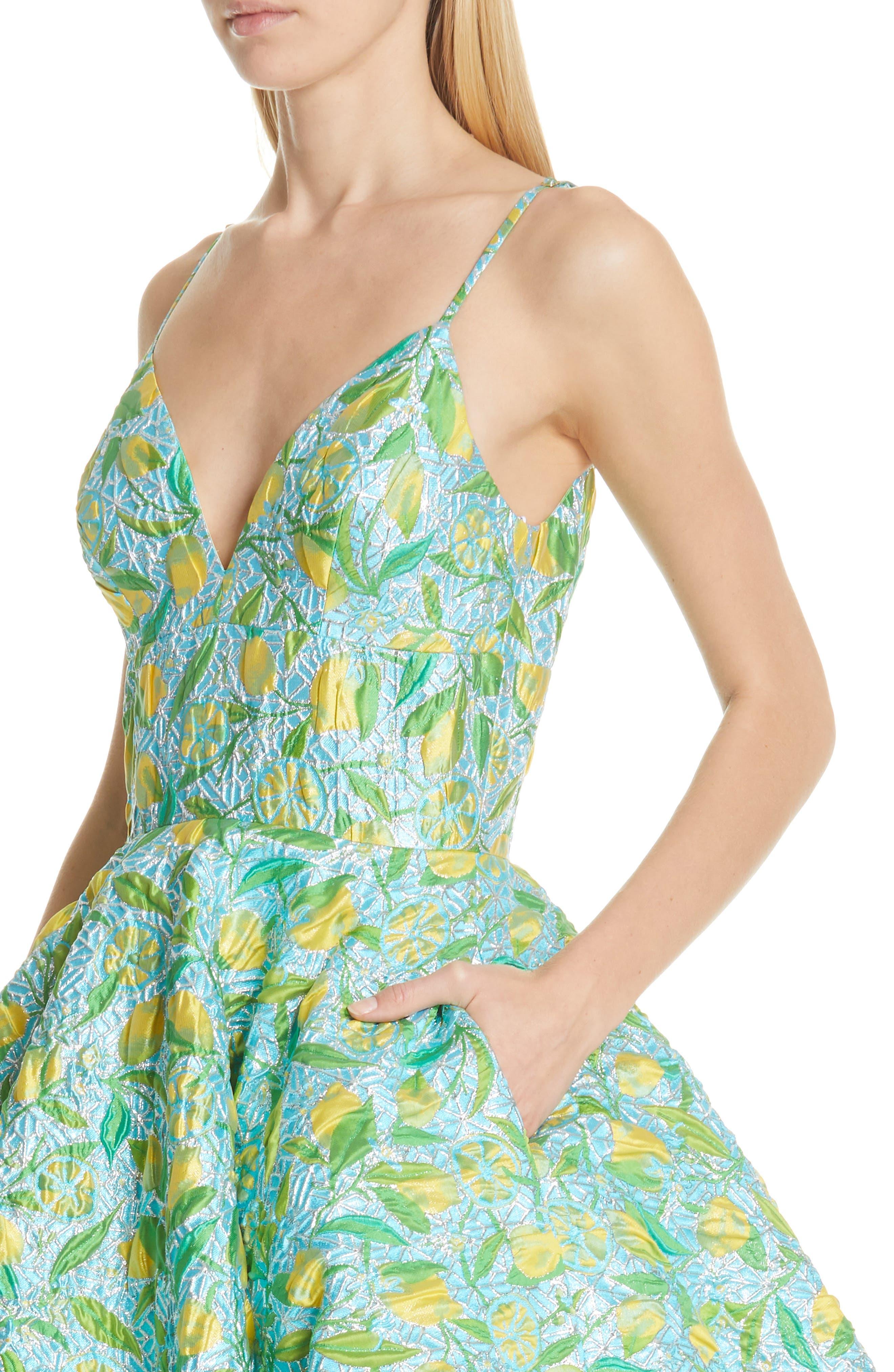 ,                             Floral Evening Dress,                             Alternate thumbnail 5, color,                             LEMON BROCADE