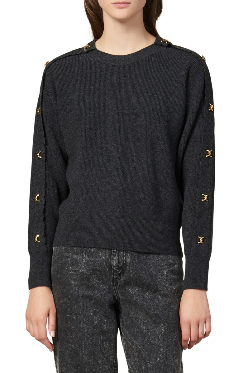 SANDRO Joly Twist Link Wool & Cashmere Sweater, Main, color, ANTHRACITE