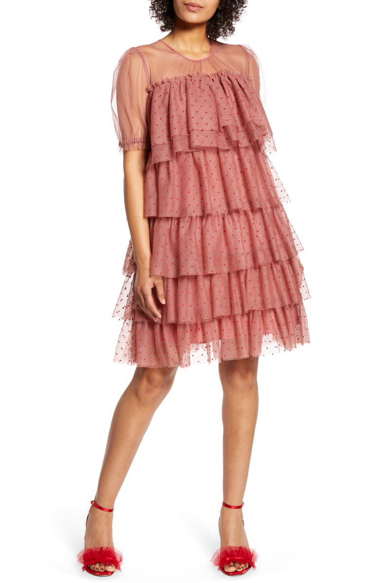 HALOGEN<SUP>®</SUP> x Atlantic-Pacific Tiered Mesh Dress, Main, color, PINK APRICOT