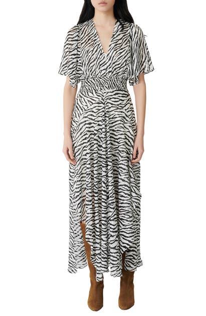 Maje Rachelle Zebra Print Crepe Midi Dress In Black+++white