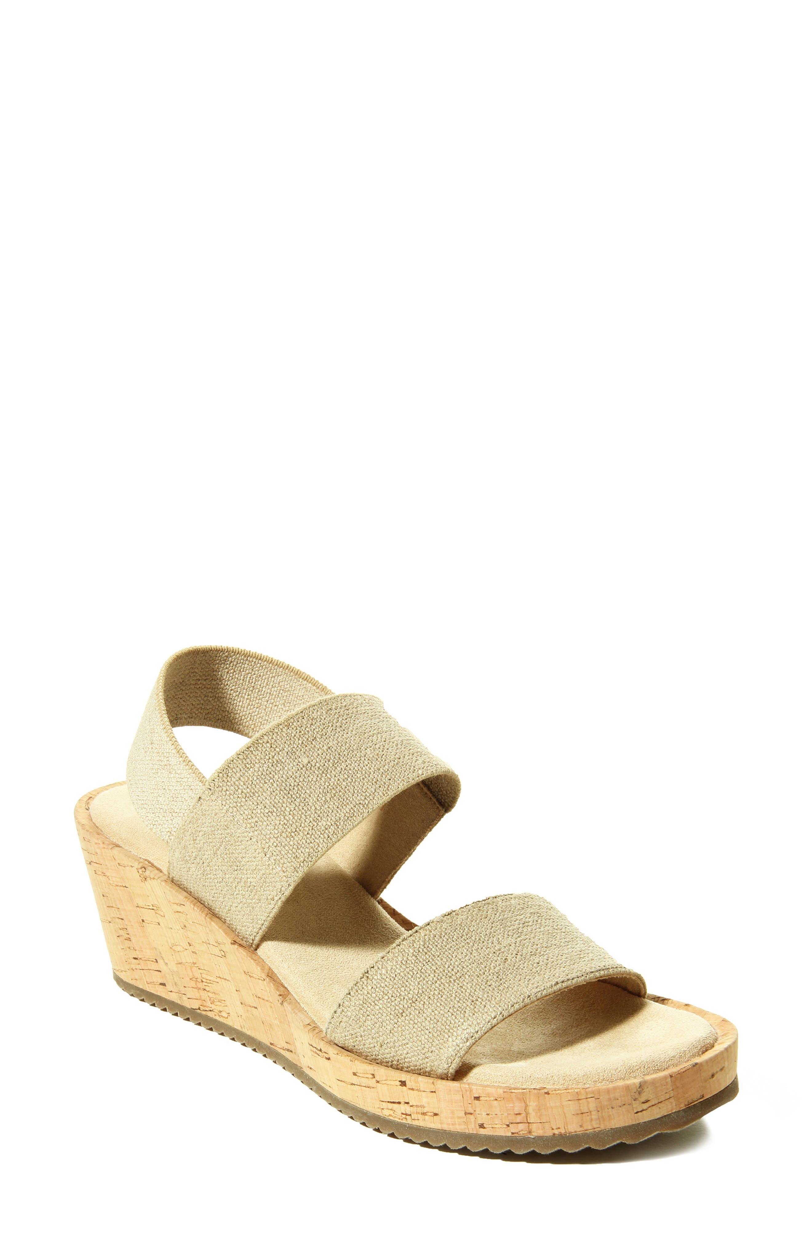 Stretchy elastic straps ensure a custom, comfortable fit for this breezy slingback sandal featuring a cushy footbed atop a cork-wrapped platform wedge. Style Name: Vaneli Chila Wedge Sandal (Women). Style Number: 6007464. Available in stores.