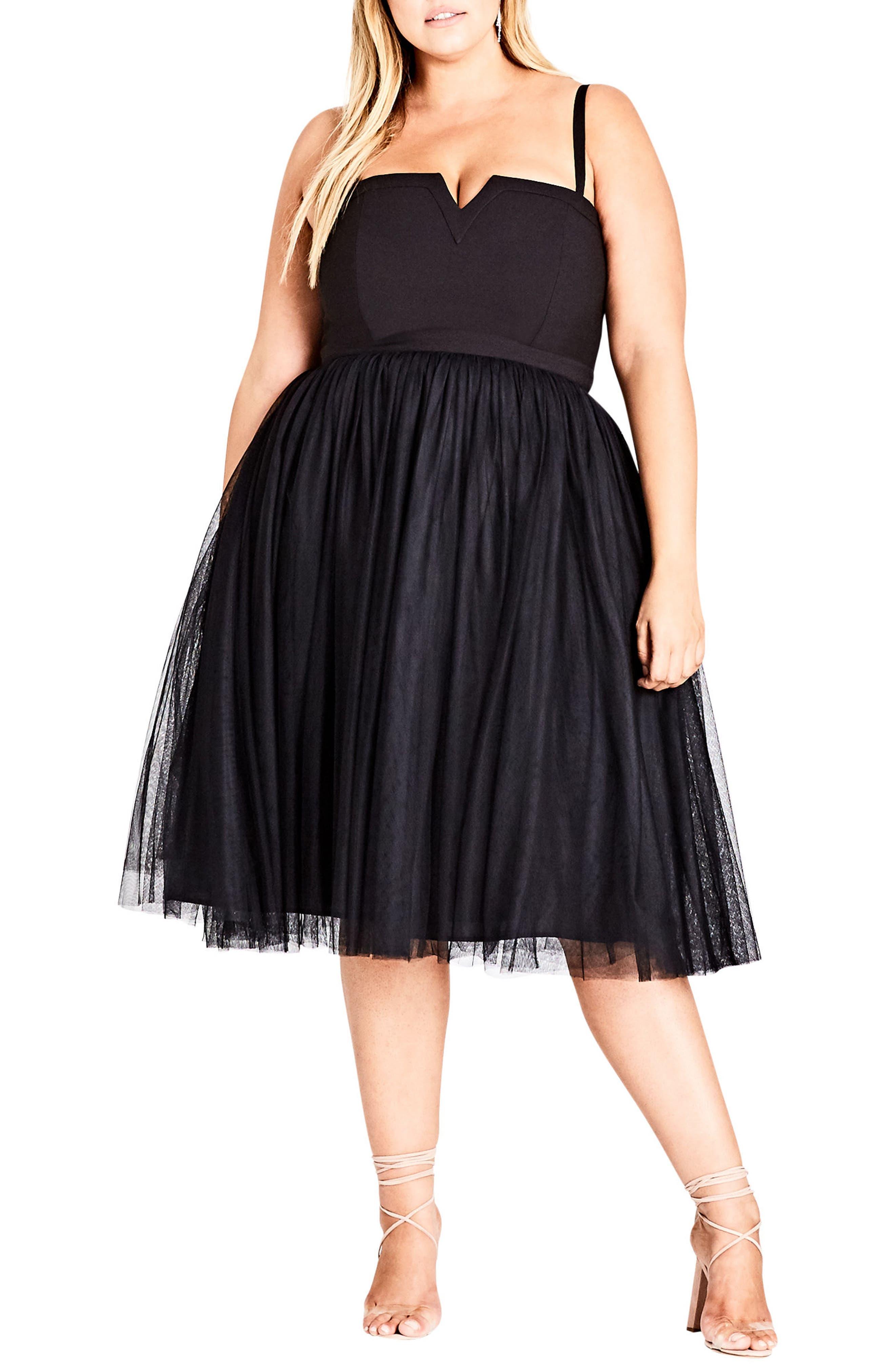 Plus Size City Chic Power Princess Fit & Flare Dress, Black
