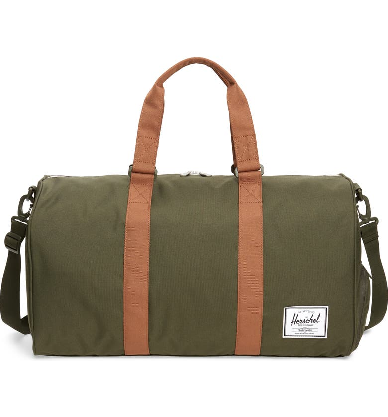 HERSCHEL SUPPLY CO. Duffle Bag, Main, color, DARK OLIVE/ SADDLE BROWN