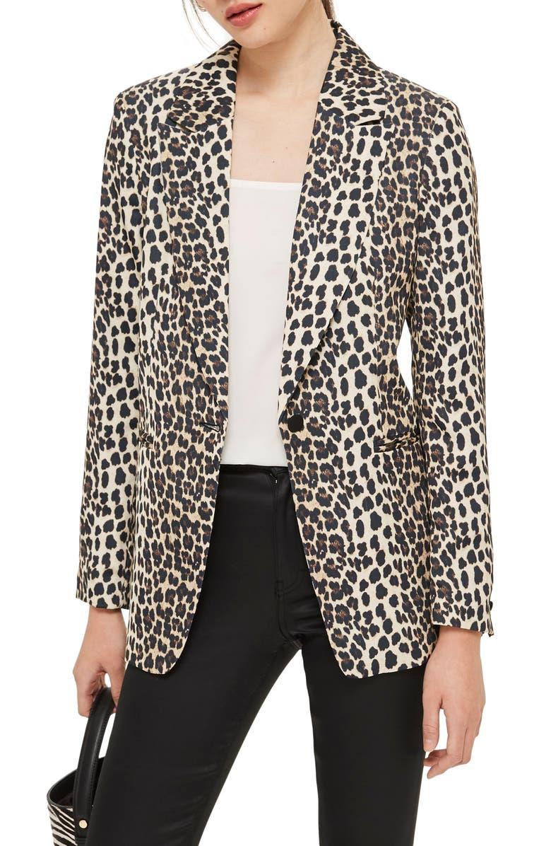 TOPSHOP Leopard Print Suit Jacket, Main, color, 200