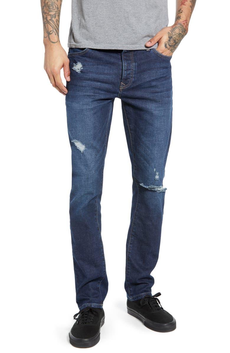 TOPMAN Stretch Skinny Fit Jeans, Main, color, DARK BLUE
