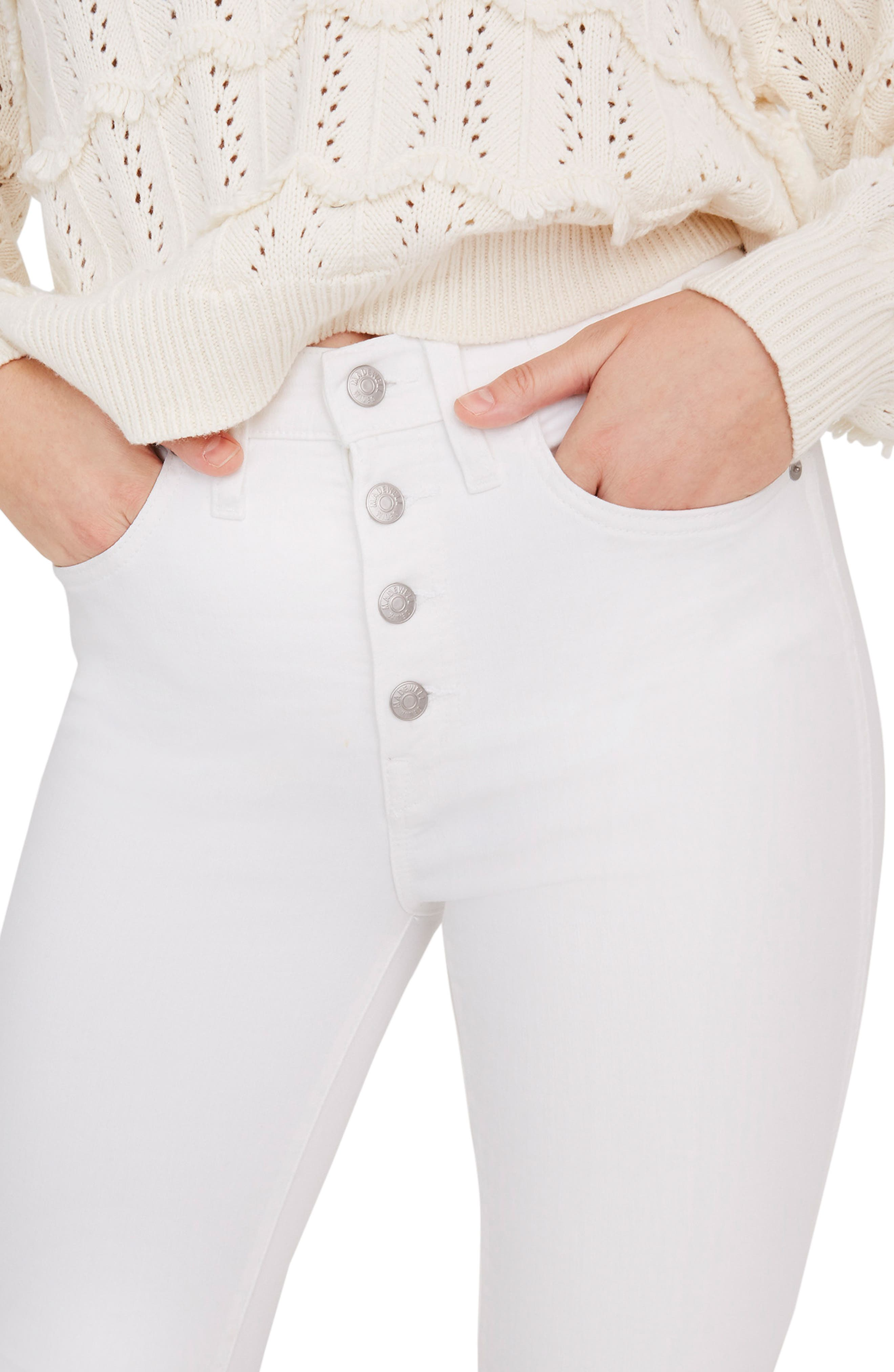 ,                             10-Inch High Waist Button Front Ankle Skinny Jeans,                             Alternate thumbnail 8, color,                             PURE WHITE